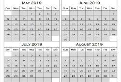 2019 May August Printable Calendar
