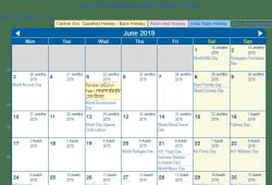June Calendar 2019 India