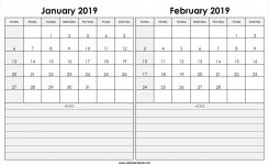 Print January February 2019 Calendar Template 2 Month Calendar