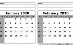 Print January February 2020 Calendar Template 2 Month Calendar