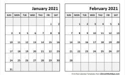 2021 January February Calendar