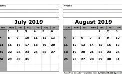 Print July August 2019 Calendar Template 2 Month Calendar