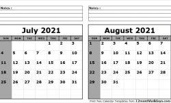 June July August 2021 Calendar