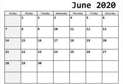 June 2020 Calendar To Print
