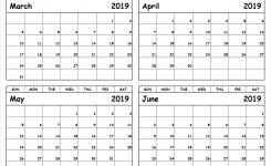 Print March To June 2019 Calendar Template 4 Month Calendar