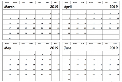 March To June 2019 Calendar