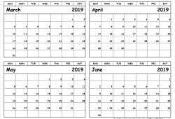 March To June 2019 Calendar