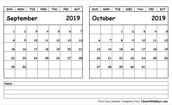 Print September October 2019 Calendar Template 2 Month Calendar