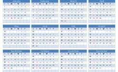 Printable 2019 12 Month Calendar Template On 1 Page Us Edition