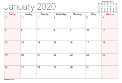 Monthly 2020 Printable Calendar