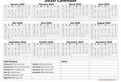 2020 Calendar Holidays Printable