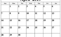 Printable April 2019 Calendar For Waterproof Template Free