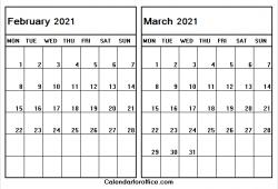 Printable Blank Calendar February March 2021