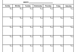 monthly calendar template printable