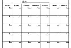 Printable Blank Month Calendar