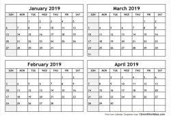 February To April 2019 Calendar Printable
