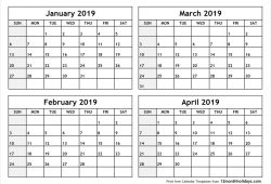 Printable February March April 2019 Calendar