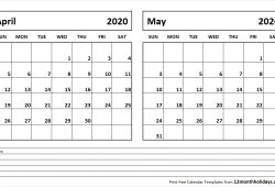 2020 April May Calendar