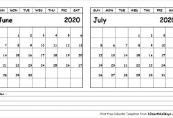 June July 2020 Calendar