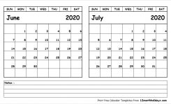 Printable Blank Two Month Calendar June July 2020 Template
