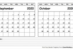 Calendar September And October 2020 Template