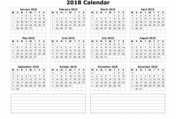 Free Printable 12 Month Calendar On One Page 2018