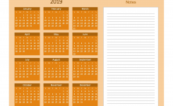 Printable Calendar 2019 With Notes Yearly Editor Orange Free