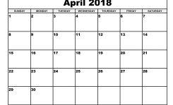 Printable Calendar April 2018 Flogfolioweekly