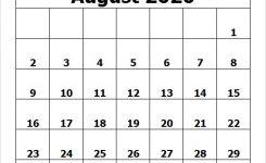 Printable Calendar August 2020 Template Pdf Excel Word Image