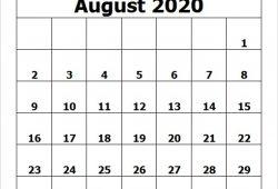 Calendar August 2020 Template