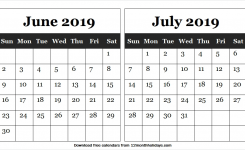Printable Calendar June And July 2019 Download Free Template