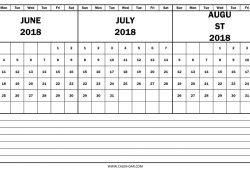June July August Calendar 2018