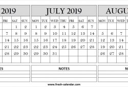 Jun Jul Aug 2019 Calendar