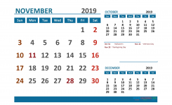 Printable Calendar November 2019 With Holidays 1 Month On 1 Page