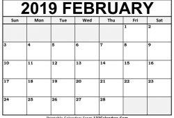 February 2019 Calendar Print