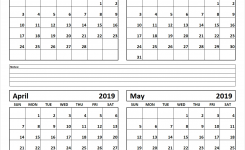 Printable Four Month February March April May 2019 Calendar Template