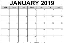 Calendar Of January 2019
