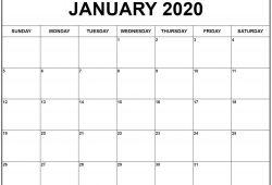 Calendar January 2020 Printable