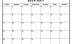 Printable July 2019 Calendar Free Template Free Printable Calendar