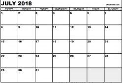 Free July 2018 Calendar Pdf