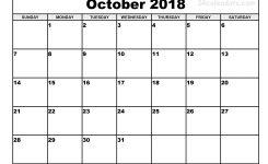 Printable October Calendar 2018 Europetripsleepco