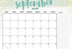 Free Printable Calendar September 2018 Cute