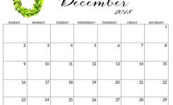Printable Template 2018 Calendar December Monthly And Weekly