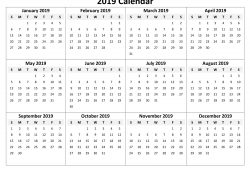 Yearly Calendar 2019 Free Printable