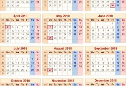 Uk Public Holidays 2018 Calendar