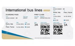 Raster Illustration Bus Ticket Template Design Isolated On White