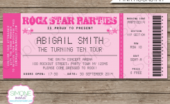 Rockstar Birthday Party Ticket Invitations Template Pink