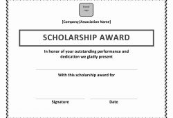 Sample Scholarship Certificate Template