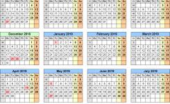 School Calendars 20182019 As Free Printable Excel Templates