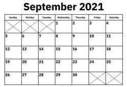 Sep 2021 Calendar Printable Template